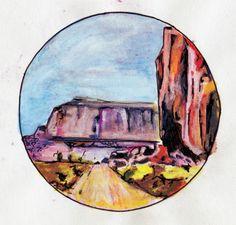 Tekening met inkt en aquearelpotlood, bergen . Drawing (aquarel) on paper made with pencil and ink. Mountains