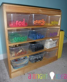 When we have a playroom again. If we ever do. If we ever move. Who knows! But LEGO storage awesomeness here.