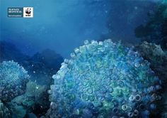 WWF Marine Protection Campaign: Brain Corals - of plastic ends up in the sea. Creative Advertising, Advertising Poster, Advertising Agency, Advertising Photography, Brain Coral, Ad Of The World, Great Ads, Awareness Campaign, Ad Design