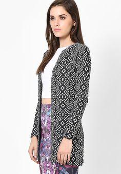 Buy Miss Selfridge Ikatt Longline Cardign Online - 4190229 - Jabong Lakme Fashion Week, Long A Line, Miss Selfridge, India, Blazer, Sweaters, Jackets, Shopping, Women