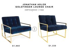 Jonathan Adler Goldfinger Lounge Chair for $1950 vs Modshop Santorini Arm Chair for $1330 copycatchic luxe living for less budget home decor and design