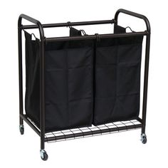 Dark Brown Removable 2 Bags Laundry Hamper Sorter on Wheels New Free Shipping #oceanstar