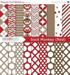 FALL SALE Digital Paper Sock Monkey Red от MyClipArtStore