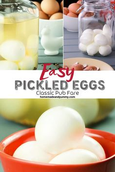 Easy Classic Pickled Eggs Recipe no canning method. Perfect for snacks and sandwich fillings. Fermented hard-boiled eggs in brine. No Carb Recipes, Side Recipes, Egg Recipes, Appetizer Recipes, Snack Recipes, Appetizers, Easy Party Food, Diabetic Snacks, Canning Recipes