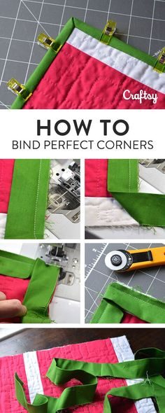 Sewing Techniques Couture Learn how to bind those tricky quilt corners with this easy photo tutorial. - Quilt binding adds a finishing touch to your hand-crafted creations. Here's how to bind a quilt in six easy steps! Quilting Tips, Quilting Tutorials, Machine Quilting, Quilting Projects, Sewing Tutorials, Sewing Hacks, Sewing Crafts, Sewing Tips, Tutorial Sewing