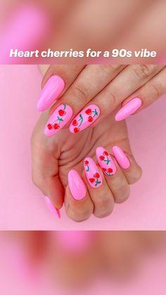 Pink Summer Nails, Cute Pink Nails, Cute Acrylic Nails, Pretty Nails, Pink Nail Designs, Nail Designs For Summer, Nail Art Ideas For Summer, Sprinkle Nails, Cherry Nails