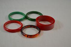 Lot of 5 Bakelite Tested Bangle Bracelets Green Amber Green Plain Chunky Red