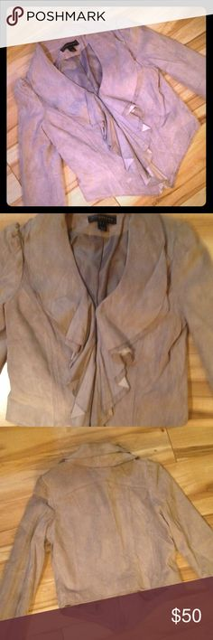 Bagatelle Suede Blazer Gently used suede jacket with layered suede ruffles. A little worn around collar and wrist areas. Gray with a lavender tint. Jackets & Coats Blazers