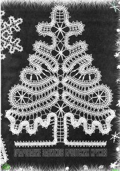 Crochet snowflakes and Christmas trees Irish Crochet, Crochet Motif, Crochet Doilies, Crochet Patterns, Lace Tape, Bruges Lace, Crochet Christmas Trees, Bobbin Lace Patterns, Crochet Snowflakes
