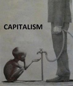 This photo says a lot about Capitalists to me. Even though the man is well-dressed and clearly has enough to provide himself clothing, and goods (as he does not look starved), he still can't find it in himself to give away even the slightest bit for someone who is in need.