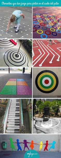 elementos pintados en el suelo que invitan a jugar libremente Playground Painting, Playground Games, Natural Playground, Outdoor Playground, Outdoor Learning Spaces, Paint Games, Diy And Crafts, Crafts For Kids, Sensory Garden