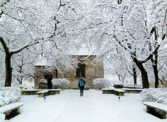 A Marquette student approaches the winter heaven that is the St. Joan of Arc Chapel.