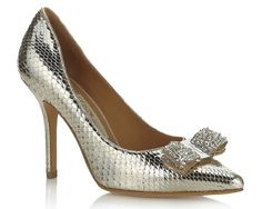 Love these shoes!!!!  Salvatore Ferragamo silver snake skin! I do not like snake skin...but silver with bling...YES!
