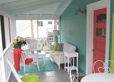 Tybee Island, Doc Holiday Cottage.  Ext color Hummingbird Blue by Glidden; Shutters Behr Citron; and door SW Coral Reef.