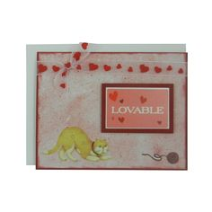 Lovable Cat Lover Greeting Card Blank Cat themed card red hearts love greeting card handmade valentines card