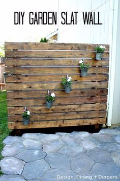 DIY Porch and Patio Ideas - DIY Garden Slat Wall for your Patio - Decor Projects and Furniture Tutorials You Can Build for the Outdoors -Swings, Bench, Cushions, Chairs, Daybeds and Pallet Signs http://diyjoy.com/diy-porch-patio-decor-ideas #backyardlandscapediyprivacyscreens