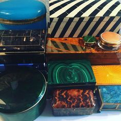 """Would you, could you, in a box?"" #suessical #trinketboxes #antiquebox #lapis #malachite #opaline #obsessed #tortoiseshell  #happyfriday"