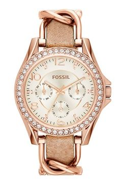 Fossil+'Riley'+Crystal+Bezel+Leather+Strap+Watch,+38mm+available+at+#Nordstrom