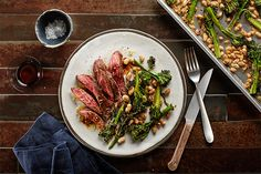 Sheet-Pan Skirt Steak with Balsamic Vinaigrette, Broccolini, and White Beans