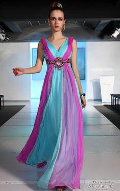 Perfect dress for my junior brides maid MoH dresses purple.. Bridesmaids dresses teal  Bridesmaid+Ball+Cyan+Purple+V-neck+Chiffon+Beadings/Draped+Long+Evening+Dress