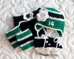 BABY GIRLS OUTFIT Crocheted for Little Hockey Stars Helmet Hat Diaper Cover Socks & Skates Black Green White Flower Preemie Newborn 3 Months by Grandmabilt on Etsy