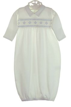 NEW White Pima Cotton Knit Smocked Daygown with Blue Argyle Style Embroidery $50.00