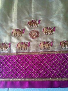 To order pls WhatsApp on 9703713779 Choli Blouse Design, Saree Blouse Neck Designs, Bridal Blouse Designs, Stylish Blouse Design, Designer Blouse Patterns, Embroidery Suits, Hand Embroidery, Elephant Design, Work Blouse