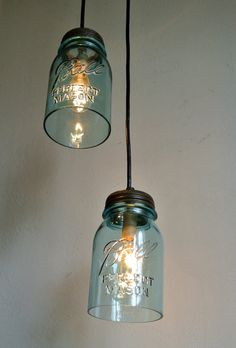 Sea glass mason jar pendant lights set of 2 hanging antique blue sea glass mason jar pendant lights set of 2 hanging antique blue ball perfect mason jar lighting fixtures bootsngus lamps 10000 via etsy aloadofball Image collections