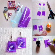 DIY Jewelry Projects and Homemade Jewelry. Gorgeous homemade accessories that also make great gifts. Plastic Bottle Flowers, Reuse Plastic Bottles, Plastic Bottle Crafts, Recycled Bottles, Plastic Jewelry, Plastic Beads, Recycled Jewelry, Recycled Crafts, Do It Yourself Jewelry