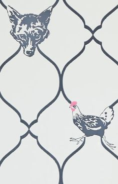 Fox & Hen Wallpaper, Designer Wallpapers For Walls | Barneby Gates