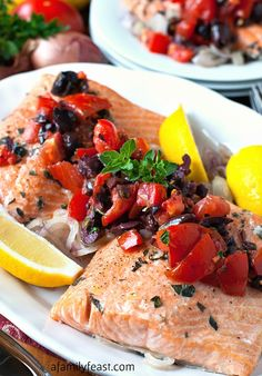 Roasted Salmon with Tomato-Olive Relish | www.afamilyfeast.com | #healthy #seafood  Healthy and delicious, this fantastic recipe is bursting with fresh, Mediterranean-inspired flavor!