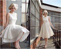 retro & elegant tea length wedding dress