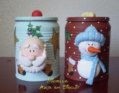 Latas decoradas con motivos navideños en arcilla polimérica / polymer clay