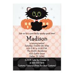 Cute black cat Halloween birthday invitations