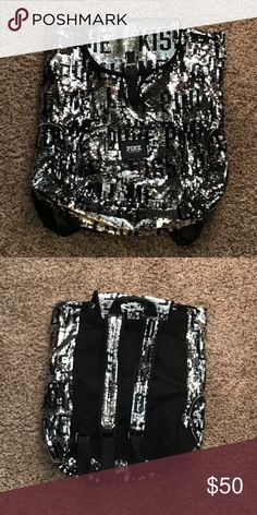 VS sequin backpack Black and silver sequin backpack! In great condition. Has a zipper pocket on both sides and a small zipper pocket on the front. PINK Victoria's Secret Bags Backpacks
