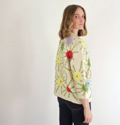 1950s Blossom Embroidered Cardigan