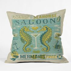 Anderson Design Group Seahorse Saloon Throw Pillow | DENY Designs Home Accessories
