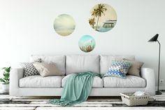 """""""Beachy"""" photo dots. Pack of 3. Fabric wall decals. Interiors. Styling."""