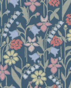 Tapet Juniflora Mörkblå från Sandberg Tyger, Murals, Backgrounds, Display, Quilts, Blanket, Wallpaper, Envy, Floor Space