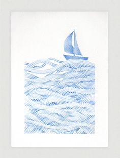 Sailboat illustration, blue, print of watercolor painting, ship, marine kids decor, nautical nursery art by VApinx