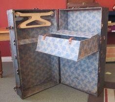 Antique Anker Brand Wardrobe Steamer Trunk