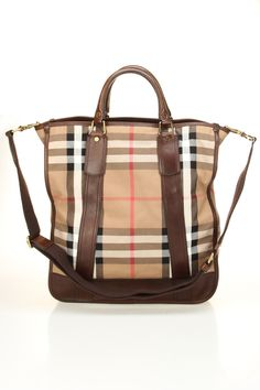 Burberry Vintage Washed Check Mayard Tote In Ebony