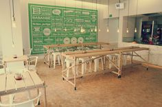 Babanbè, Berlin. Modern industrial design - love the tolix seating, long communal table and exposed bulbs.