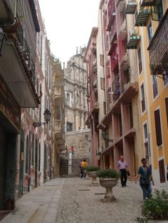 Macau, a Portuguese colony for hundreds of years - eventually the last outpost of Portugal's colonial empire. Places To Travel, Places To See, Places Ive Been, Colourful Buildings, Beautiful Buildings, Portugal, Travel Around The World, Around The Worlds, Macau Travel