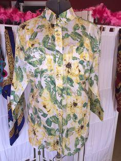 Women's Karen Scott Yellow Green Floral Button Down Shirt Size 2XL | eBay