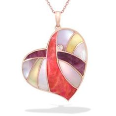 Rose Gold Heart Pendant with Spiny Oyster, Mother of Pearl and Diamond (Chain Included) - New From Na Hoku - Shop