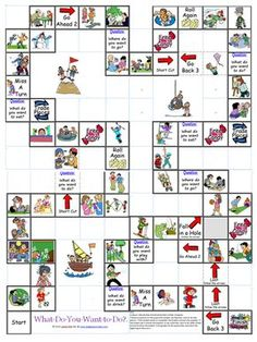 """The What Do You Want to Do? Board Game is meant for reviewing common things that young learners would typically want to do such as make a snowman, go on the swings, do a puzzle, or play basketball. The game is simple: If a student lands on a square with a picture, the student says, """"I want to,"""" and then says whatever the picture is. If the student lands on a question square, the student simply answers the questions. To see how the board is connected look at the picture below."""