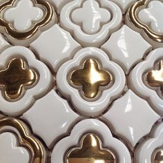Not for the faint of heart - real gold accents on our Tilt Clover Pattern. Where would you use it? #solidgold #walkerzanger #tiletravels #mexico