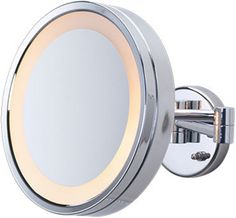 3 times magnification Chrome wall mount halo light magnifying mirror.
