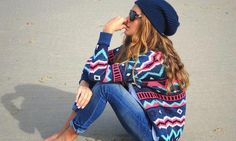 love this entire look. Beach nights outfit beanie slouch hat winter outfit aztec print knit sweater chill girl cool skater casual